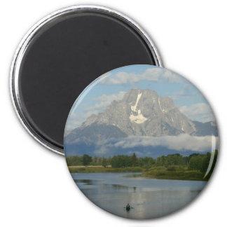 Kayaking in großartigem Teton Nationalpark Runder Magnet 5,1 Cm