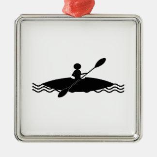 Kayaking - Kajak-Stock-Mann Silbernes Ornament