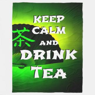 keep calm and drink tea - asia edition - green tea fleecedecke