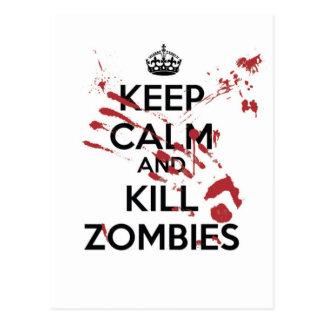 Keep Calm and Kill Zombies Postkarte