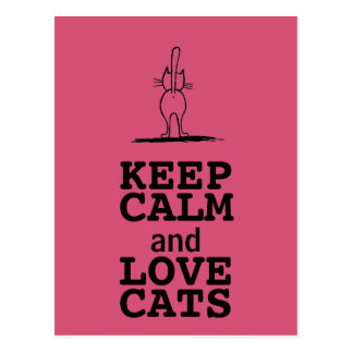 KEEP CALM and LOVE CATS Postkarte
