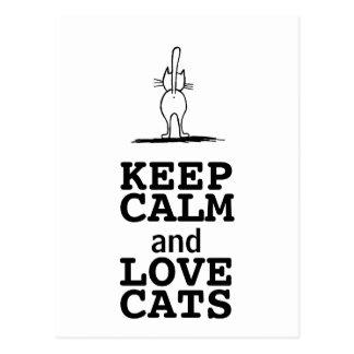 KEEP CALM and LOVE CATS Postkarte
