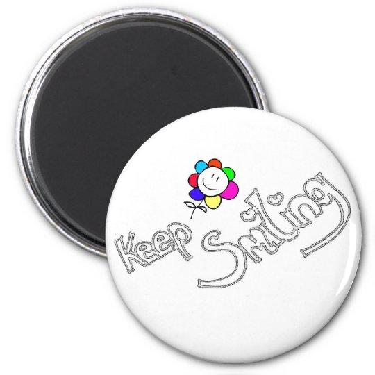 Keep smiling runder magnet 5,1 cm