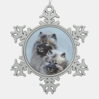 Keeshond-Brüder Schneeflocken Zinn-Ornament