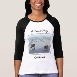 Keeshonds an der Küste-Malerei-Hundekunst T-Shirt