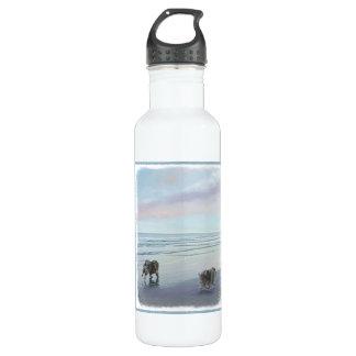 Keeshonds an der Küste-Malerei-Hundekunst Trinkflasche