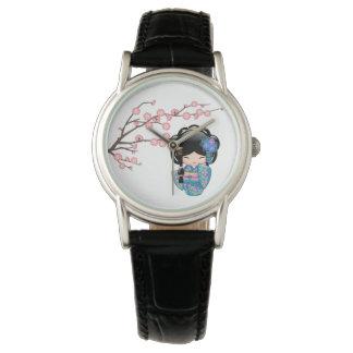 Keiko Kokeshi Puppe - blaues Kimono-Geisha-Mädchen Armbanduhr