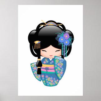 Keiko Kokeshi Puppe - blaues Kimono-Geisha-Mädchen Poster