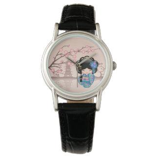 Keiko Kokeshi Puppe - blaues Kimono-Geisha-Mädchen Uhr