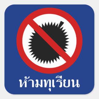 KEIN Durians ⚠ thailändische Sprachskript-Zeichen Quadratischer Aufkleber