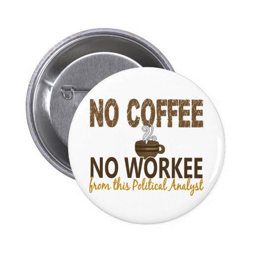 Kein Kaffee kein Workee politischer Analyst Anstecknadelbuttons