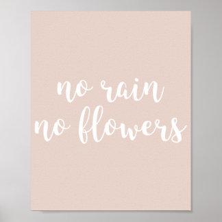Kein Regen kein Blumen-Zitat-Druck Poster