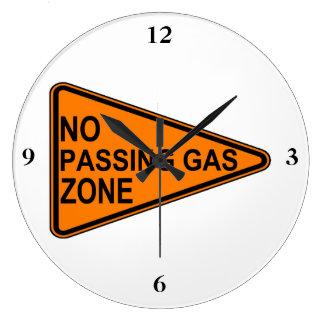 Kein überschreitenes Gas-Verkehrsschild Große Wanduhr