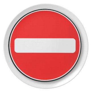 Kein Verkehrs-Eintritt Teller