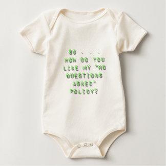 Keine Fragen fragten Politik-Sarkasmus Baby Strampler
