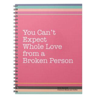 Keine ganze Liebe von defektem Leute-Notizbuch Notizblock