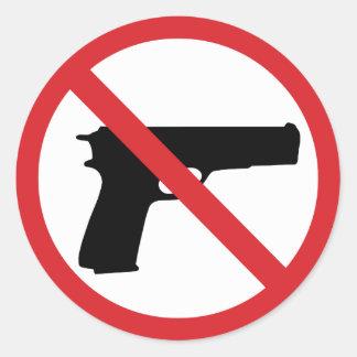 Keine Pistolen Runder Aufkleber