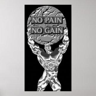 Keine Schmerz kein Gewinnweightlifting-Plakat Poster