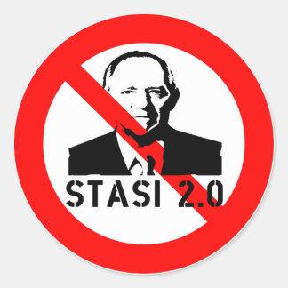 Keine Stasi 2.0 Runder Aufkleber