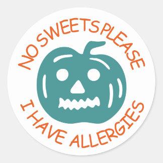 Keine Süßigkeiten gefallen, ich haben Allergien Runder Aufkleber
