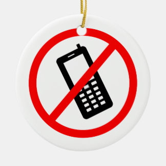 Keine Telefone erlaubten, stellen Ihr Mobiltelefon Rundes Keramik Ornament