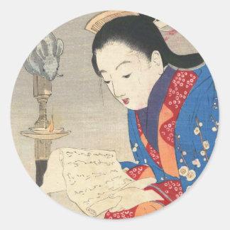 Keishu Takeuchi, Dämmerungs-Mäuselampe ukiyo-e Runder Aufkleber