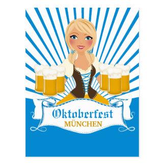 Kellnerin mit Postkarte Stein Oktoberfest