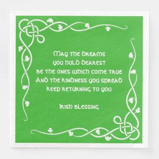 Keltische Borten-- weißer und grüner irischer Papierservietten