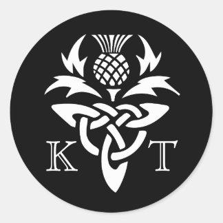 Keltische Distel-Initialen - Schwarzes u. Weiß Runder Aufkleber