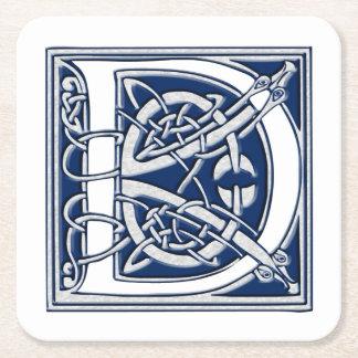 Keltische Drache-Initiale D Rechteckiger Pappuntersetzer