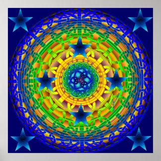 Keltische Erdkugel-Mitternachtsdruck Plakatdruck