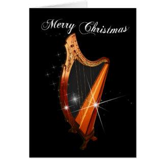 Keltische Harfen-Weihnachtskarte Karte