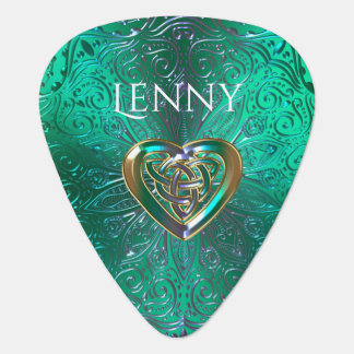 Keltische Herz-Mandala im grünen Gold Plektrum