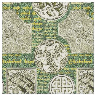 Keltische Hunde und Pferde im Grün und im Gold Stoff