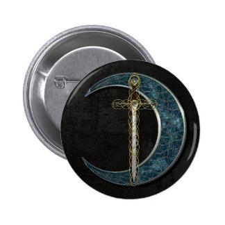 Keltische Klinge und Mond mit Schmutz-Wand Button