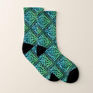 Keltische Knoten-Diamant-blaues Grün-Socken Socken