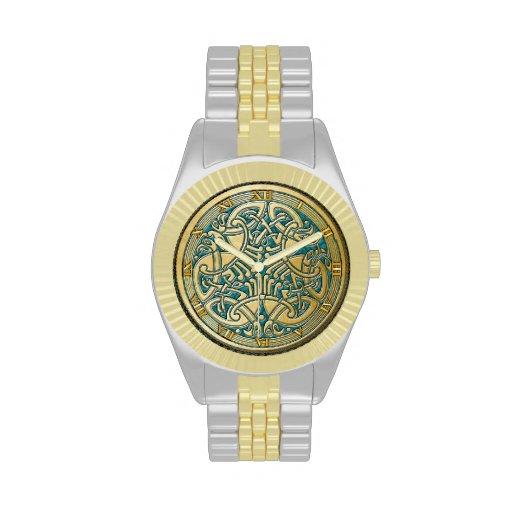 Keltische Knoten-Goldvögel u. Aqua - Uhr