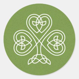Keltische Knoten-Kleeblatt-Hochzeit Runder Aufkleber