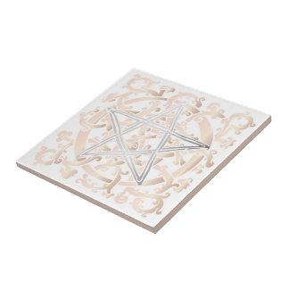 Keltische Knoten u. Pentagramm - Trivet/Fliese - 5 Keramikfliese