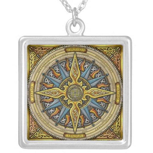 Keltische Kompass-Anhänger-Halskette