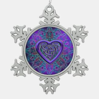 Keltische lila Herzmandala-Weihnachtsverzierung Schneeflocken Zinn-Ornament