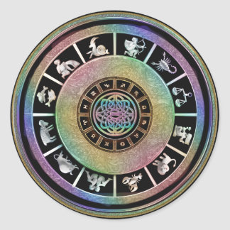 Keltische Regenbogen-Tierkreis-Mandala Runder Aufkleber