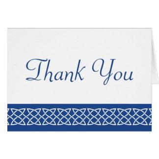 Keltische Webart-Herzen im Blau danken Ihnen zu Karte