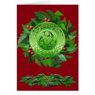 Keltische Weihnachten-Spirale mit Stechpalme Grußkarte
