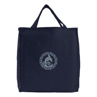 Keltischer Delphin Bestickte Einkaufstaschen