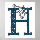 Keltischer Druck des Buchstaben H Poster