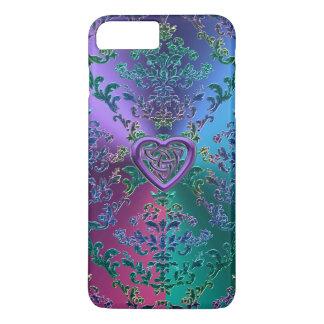Keltischer Herz-Knoten auf buntem metallischem iPhone 8 Plus/7 Plus Hülle