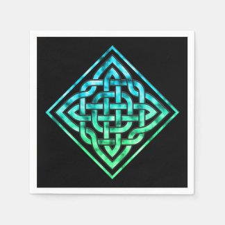 Keltischer Knoten - Diamant-blaues Grün Papierservietten