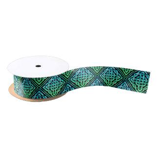 Keltischer Knoten - Diamant-blaues Grün Satinband