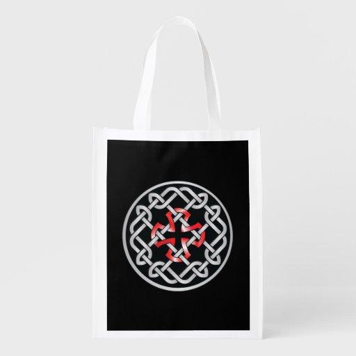 Keltischer Knoten-rote metallische Einkaufstasche